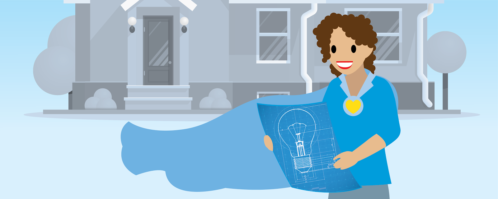 マントを身に付け、住宅を背景に設計図を見ている女性の図。
