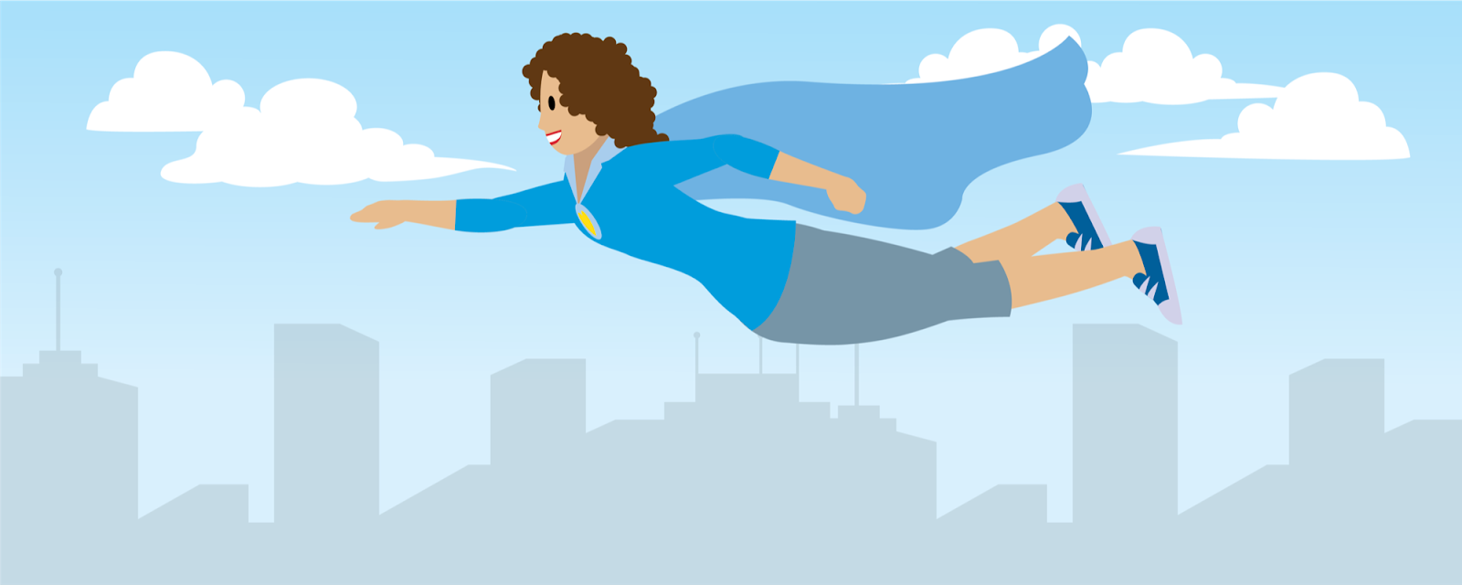 Illustration of a woman wearing a cap flying above a city.