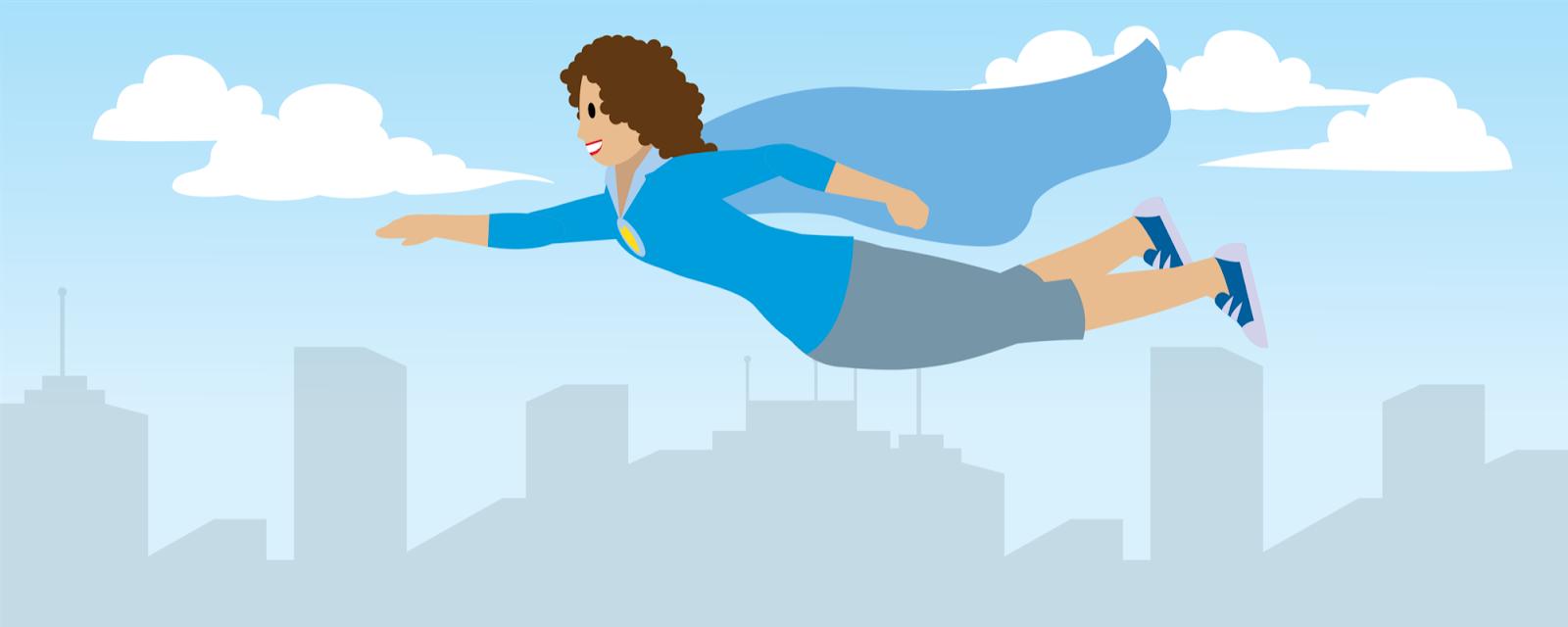 マントを身に付けた女性が都市の上空を飛んでいる図。