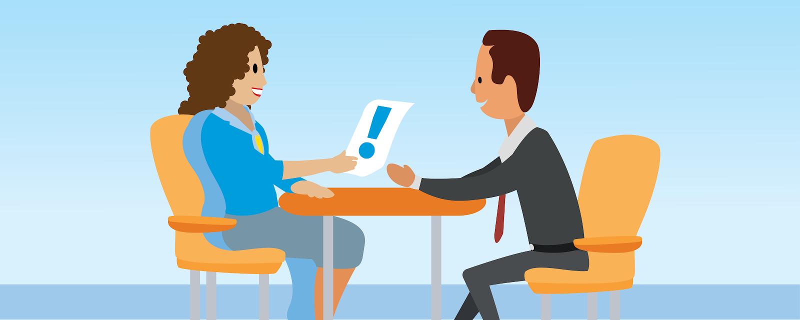Illustration einer Frau, die zusammen mit einem Mann in einem Anzug an einem Tisch sitzt.