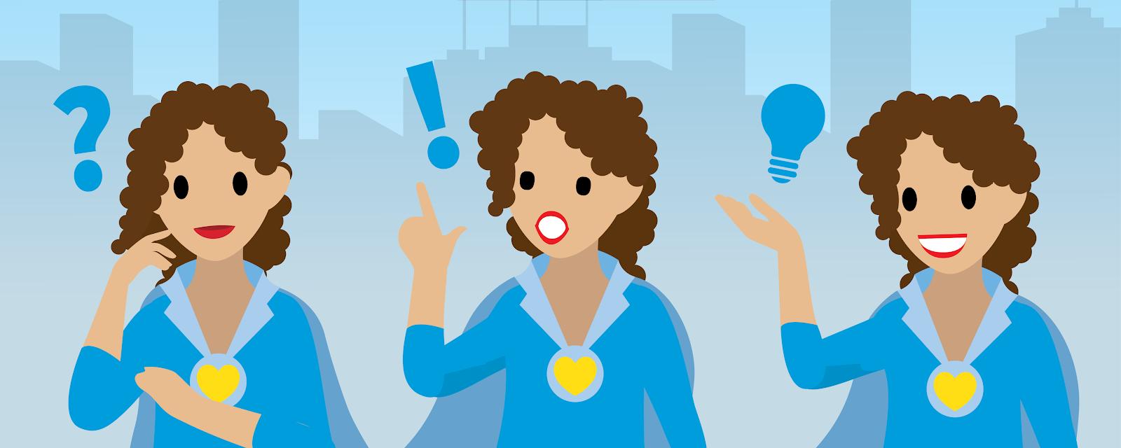 都市のスカイラインを背景にして 3 つの異なるポースを取る女性の図。