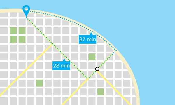 A map with two routes, one faster but more difficult