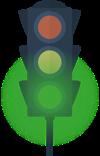 A traffic signal green light