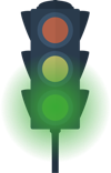 A traffic signal green light