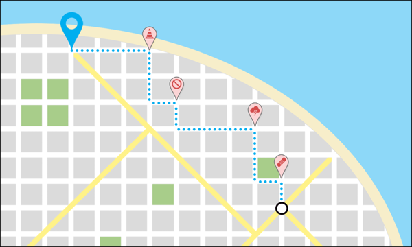 A map view of avoiding obstacles on the route