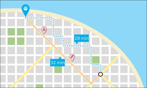 A map view of a main route and an alternate route