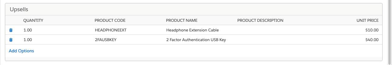 Product Configuration page with Upsells feature containing products