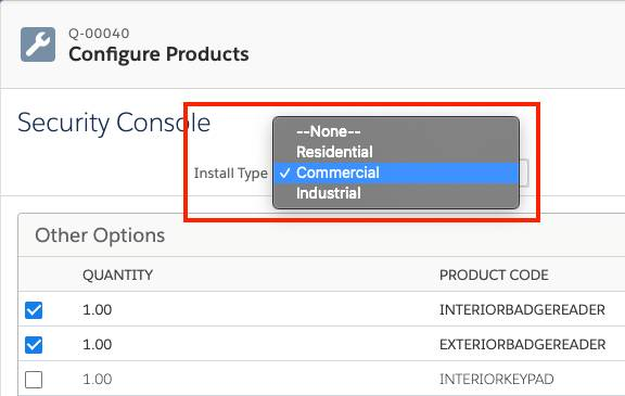 Product Configuration page with a configuration attribute picklist open