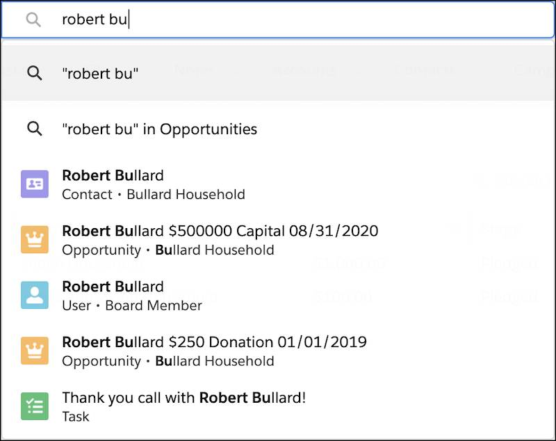 """Search instant results for Robert Bullard with only """"Robert Bu"""" entered in the search bar"""