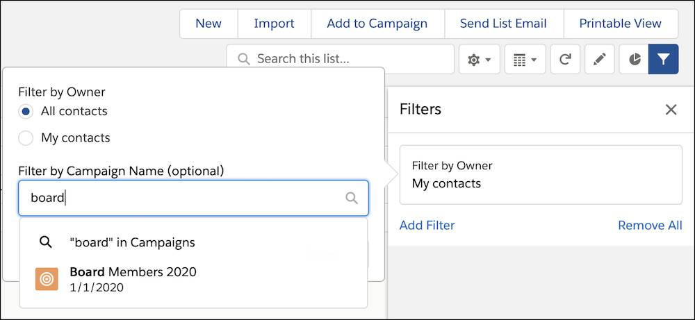 "Filter By Owner open with ""All contacts"" selected and ""board"" in the Filter by Campaign Name search"