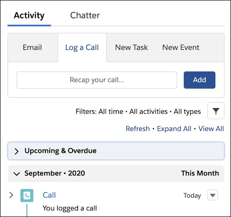 The call in the Activity timeline
