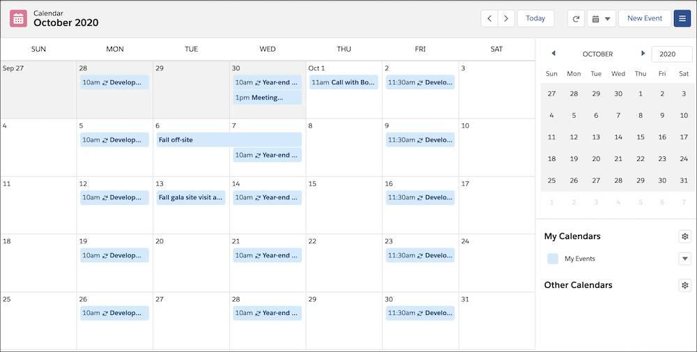 The Salesforce Calendar view