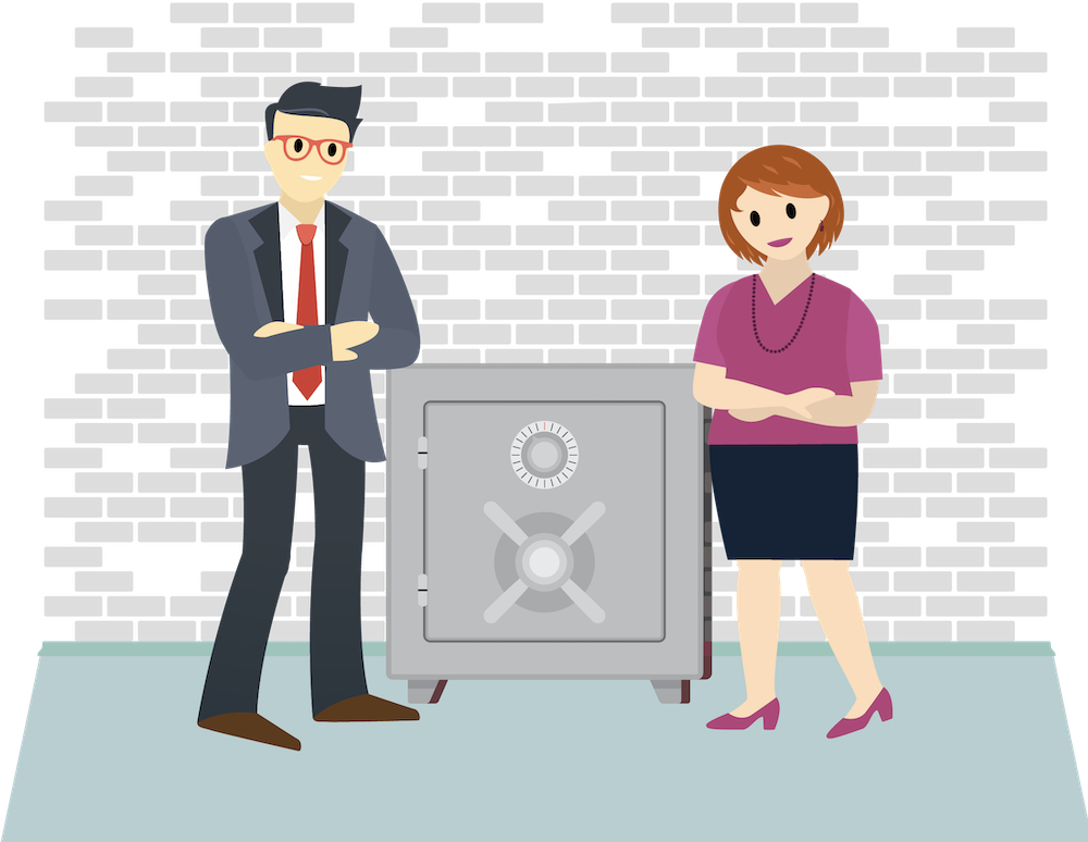 Gia and Gordon stand near a safe with their arms crossed.