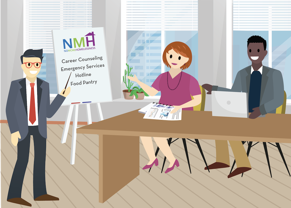 Gordon, Anthony, and Gia discuss NMH's programs in front of a whiteboard.