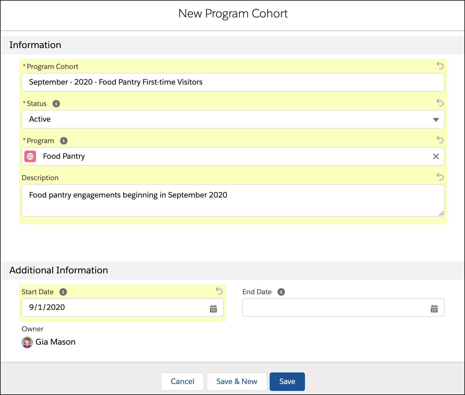 The New Program Cohort interface with Gia's information in the fields