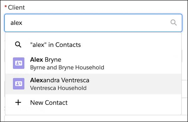 A client search for Alexandra Ventresca