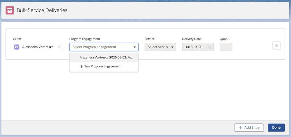 The Bulk Service Deliveries interface