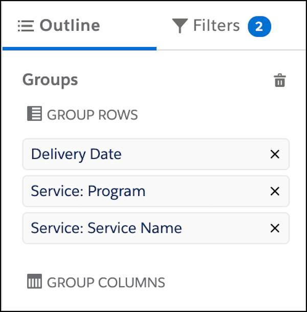 The groups on the report edit interface, with Delivery Date, Service: Program, and Service: Service Name, in that order