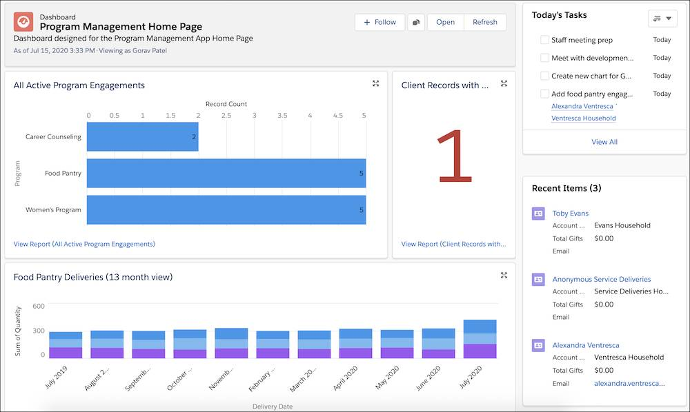 The new dashboard with panes for All Active Program Engagements, Food Pantry Deliveries, and Client Records