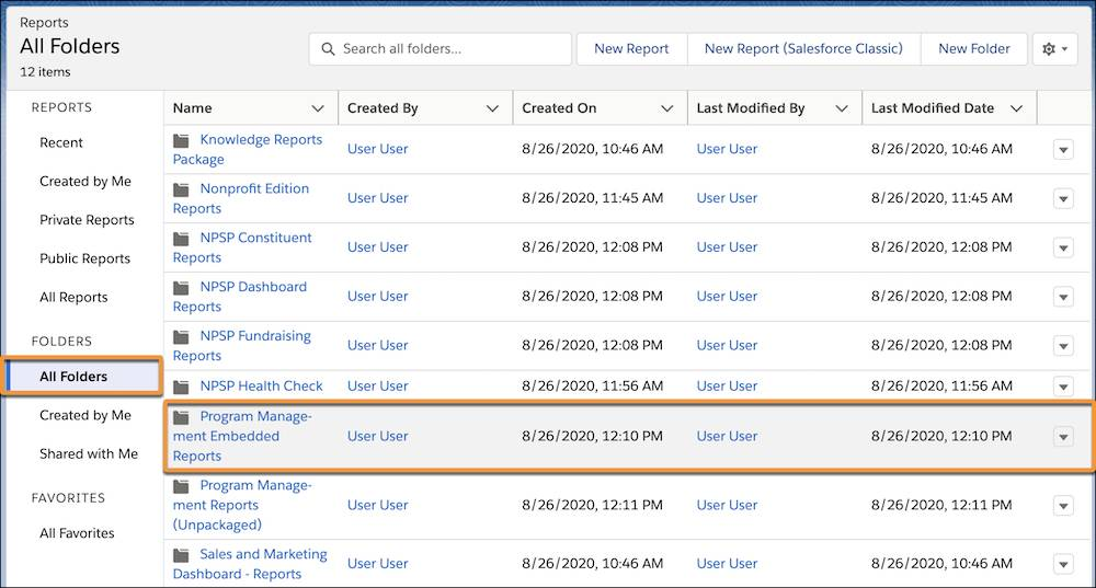 Reports folders with Program Management Embedded Reports highlighted