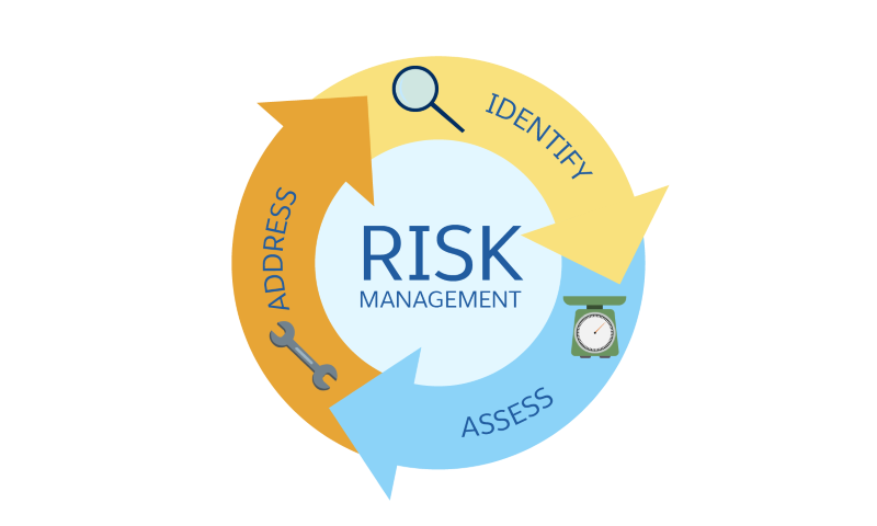 The three risk management tasks are: identify, assess, and address.