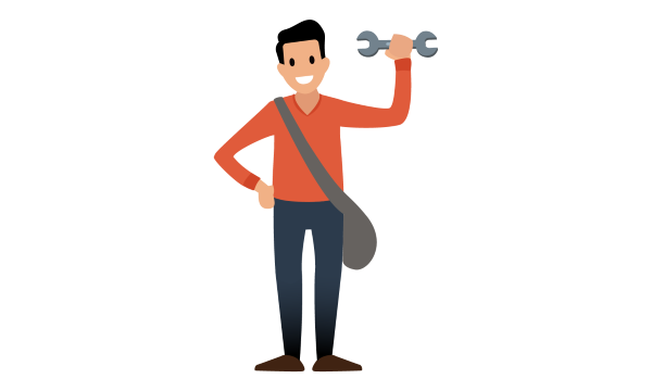 A person holding a wrench is ready to address risk.