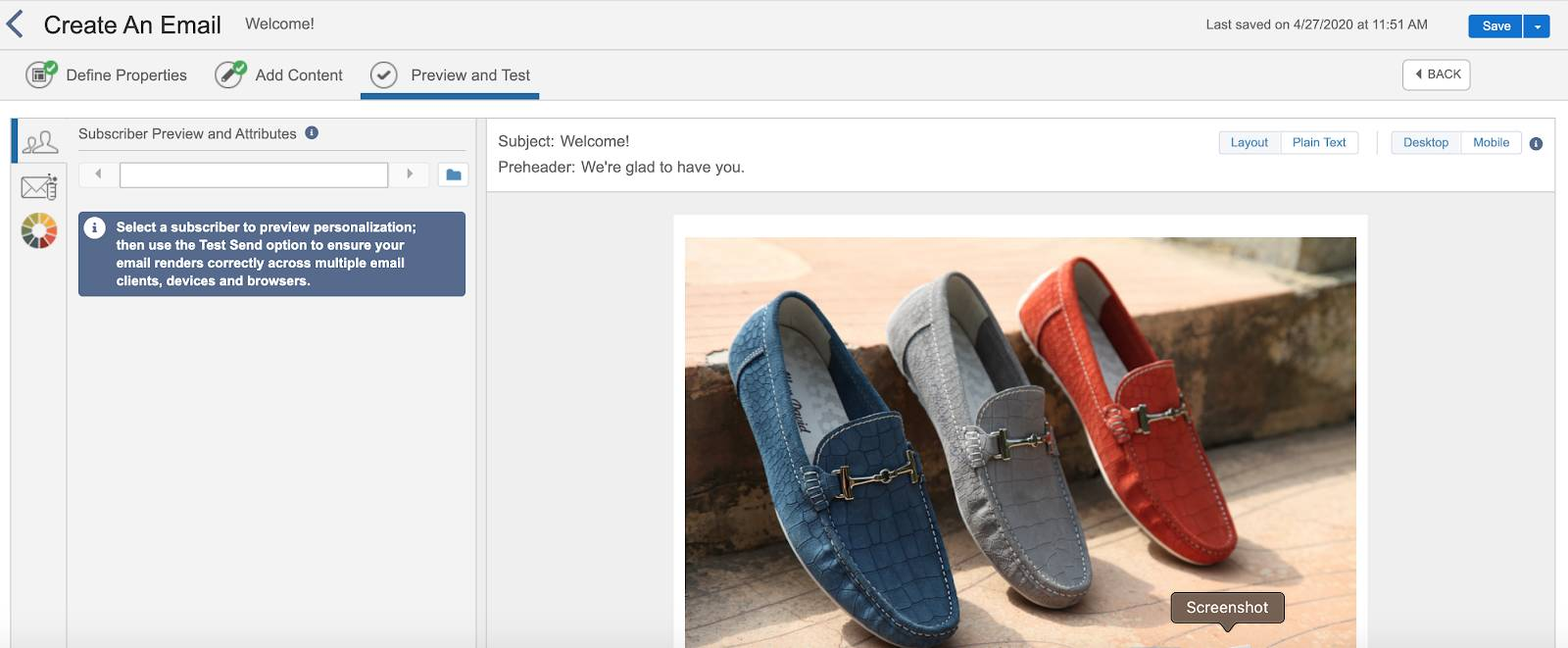 Email preview in Journey Builder