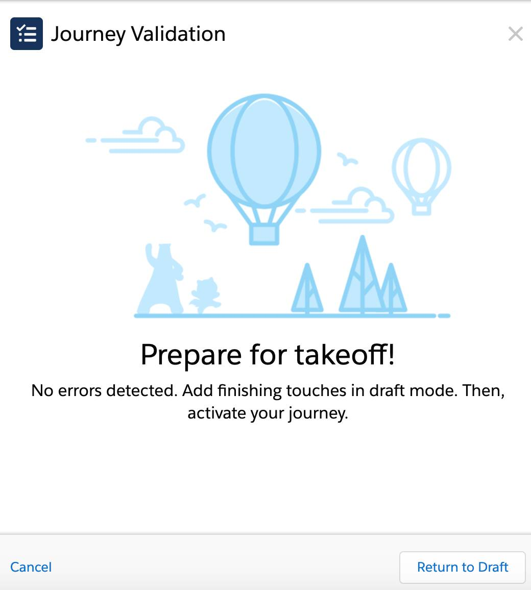 Journey Validation Screen in Journey Builder