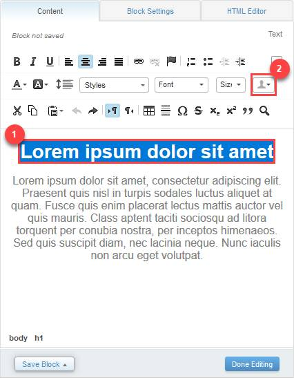 A screenshot showing the content tab with the Lorem ipsum dolor sit amet title highlighted in blue. It has a red box around it as well along with the number 1 beside it. The profile icon is also outlined in a red box with the number 2 next to it.