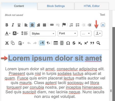 A screenshot showing a red arrow pointing to the profile icon within the content editor.