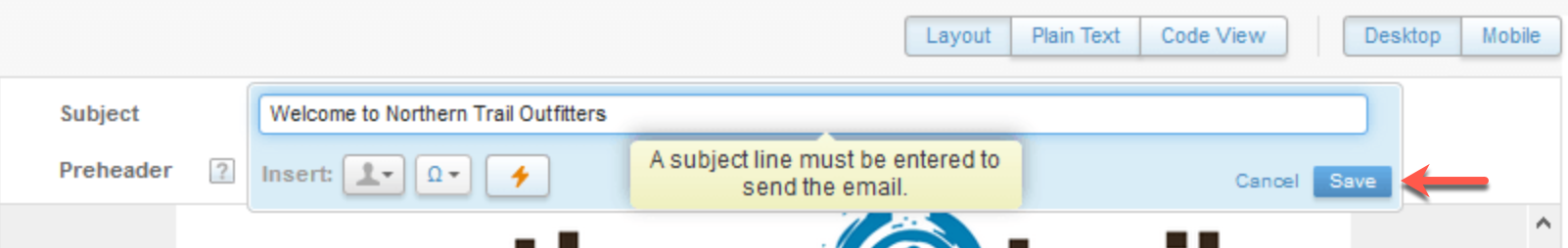 A screen shot showing a red arrow pointing to the Save button in the bottom right hand corner of the Subject line box.