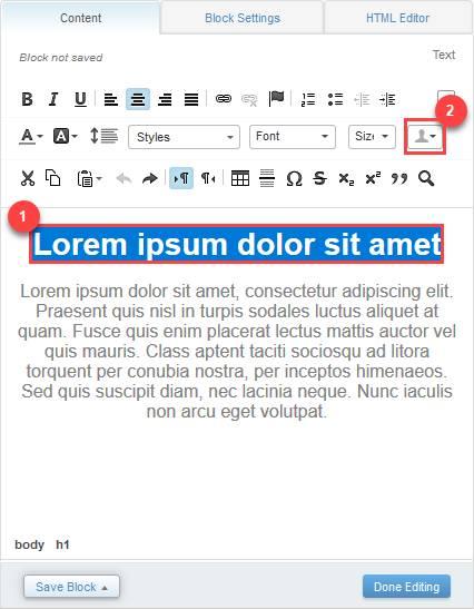 [Content (コンテンツ)] タブが表示されているスクリーンショット。「Lorem ipsum dolor sit amet」というタイトルが青で強調表示されています。さらに赤いボックスで囲まれていて、その横に数字 1 が表示されています。プロファイルアイコンも赤いボックスで囲まれていて、その横に数字 2 が表示されています。