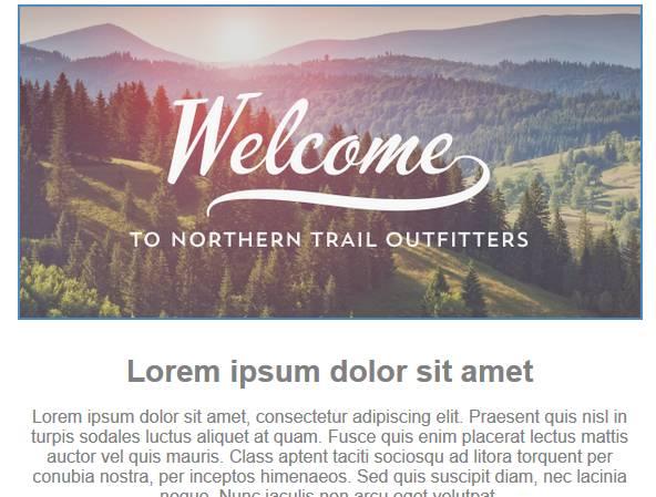 画像コンテンツブロック内に「Welcome to Northern Trail Outfitters (Northern Trail Outfitters へようこそ)」という画像が表示されたスクリーンショット。