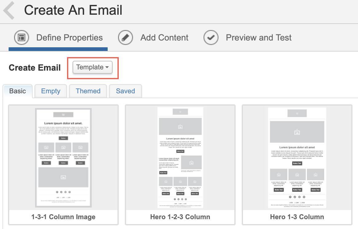 Captura de tela que mostra Criar email com a opção Modelo selecionada.