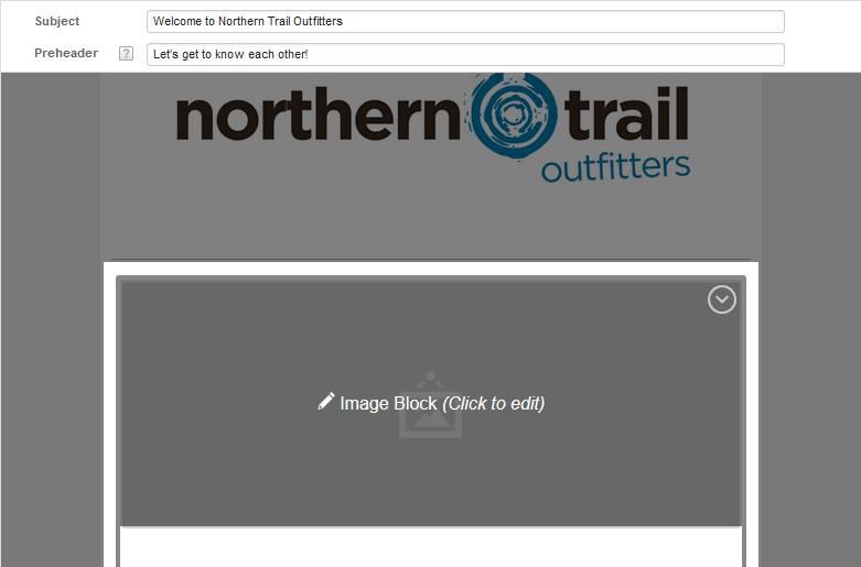Captura de tela que mostra o bloco de imagem com seu estado alterado para Clique para editar.