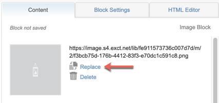 Captura de tela que mostra uma seta vermelha apontando para o hiperlink Substituir.