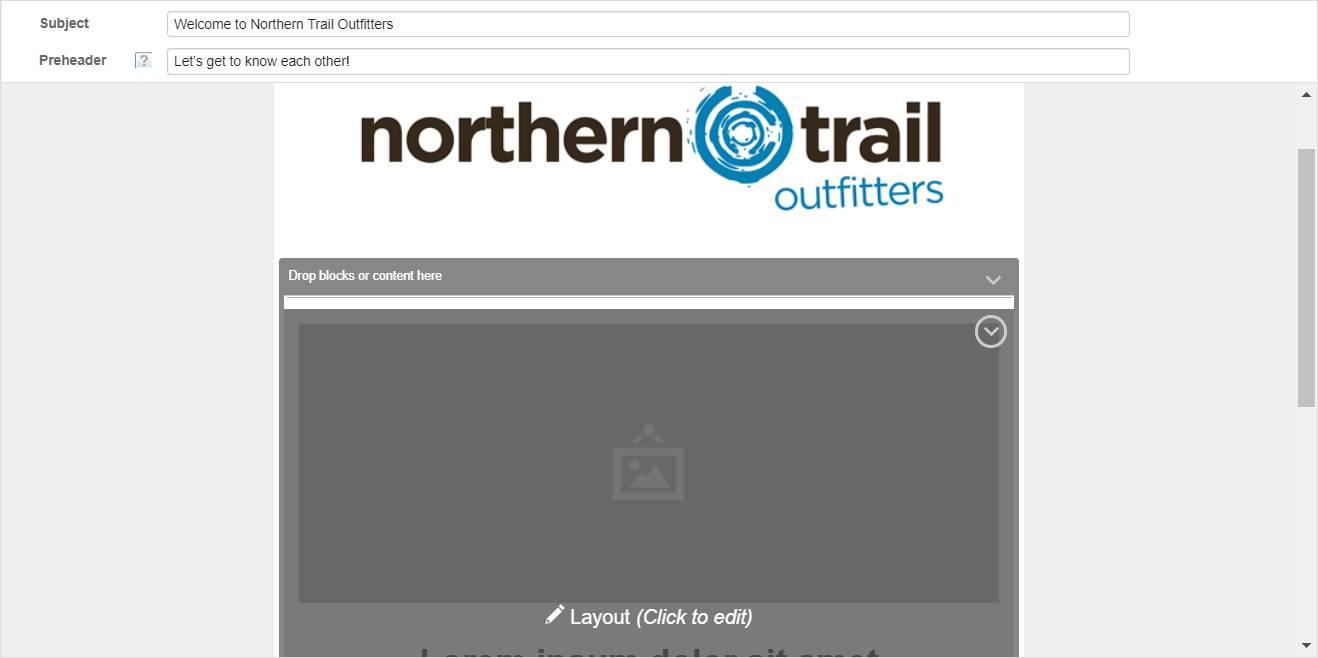 Captura de tela que mostra o bloco de conteúdo com seu estado alterado para Layout (Clique para editar).