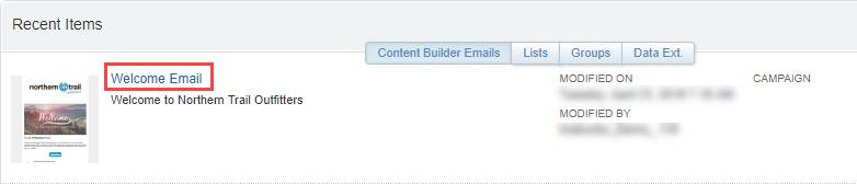 A screenshot showing the Welcome Email as it appears in the recent item lists.