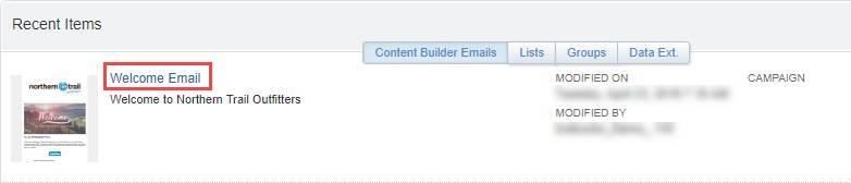 [Recent Items (最近のアイテム)] リストに表示されている [Welcome Email (Welcome メール)] を示すスクリーンショット。
