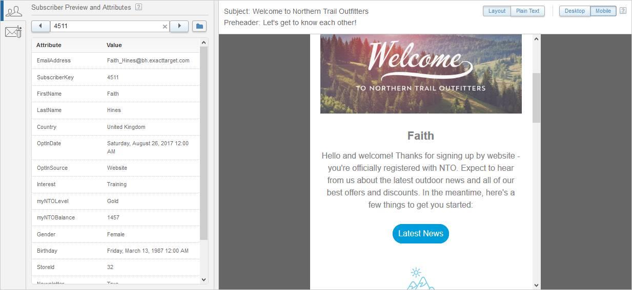 幅が 450px しかないウィンドウ内で Faith のメールのプレビューが表示されているスクリーンショット。