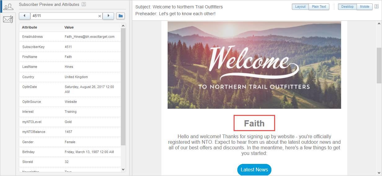 左側の 2 列のテーブルに Faith Hines の情報が表示され、右側に Faith が受信するメールのプレビューが表示されているスクリーンショット。パーソナライズ文字列が、Faith の名に置き換えられています。