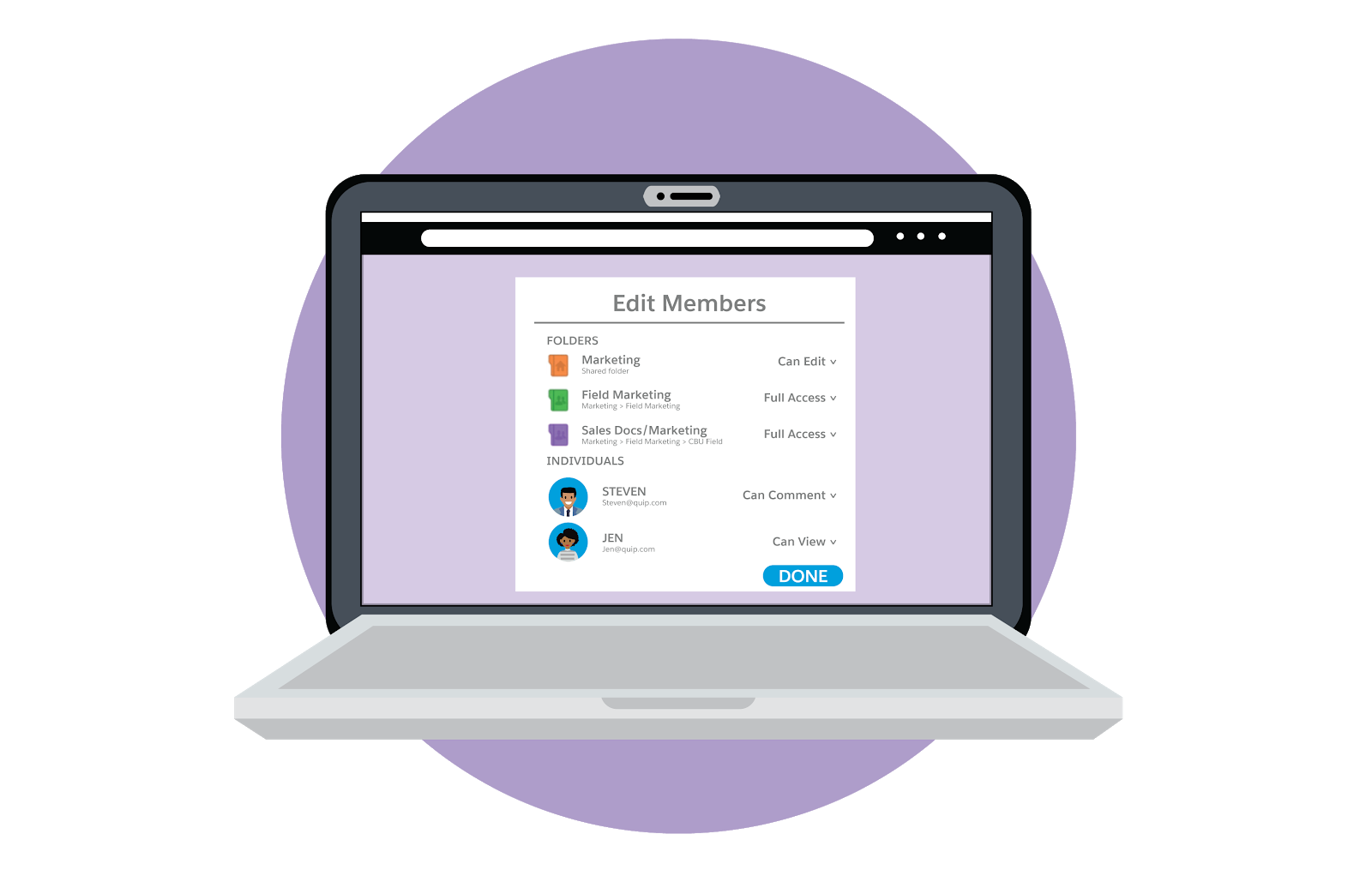 フォルダと個人を含むメンバー権限の編集方法が表示されているラップトップ。