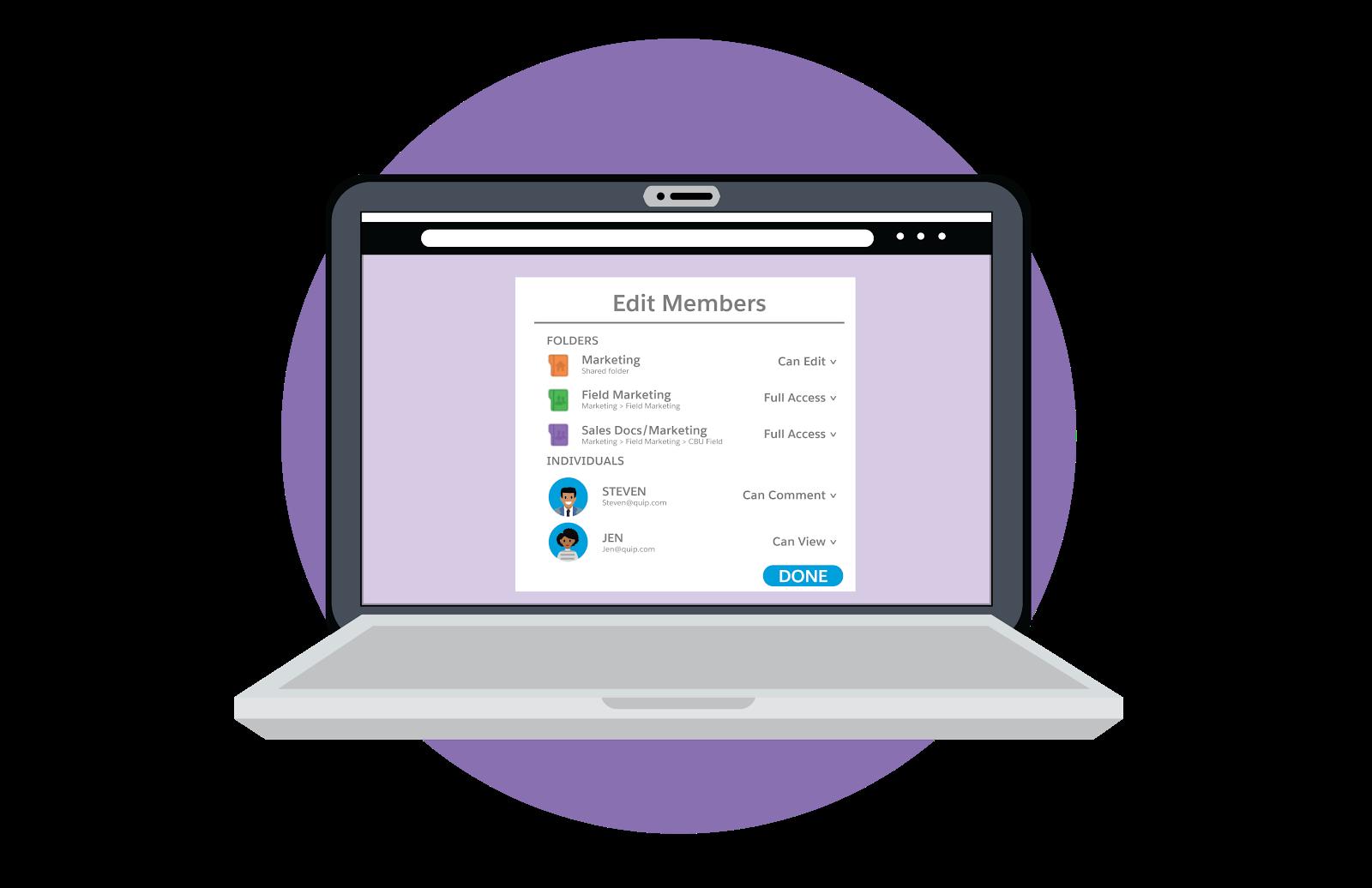Laptop mostrando como editar permissões de membro, incluindo pastas e pessoas.