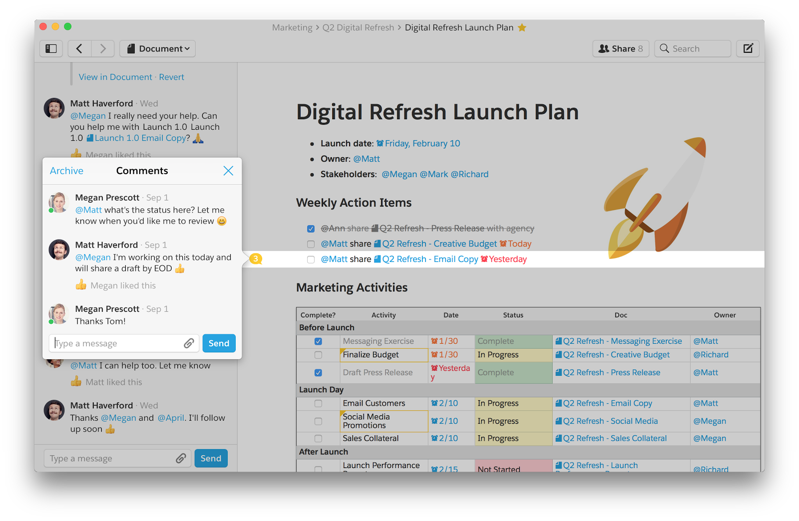 Image of Digital Refresh Launch Plan with collaborative comments and conversation inline