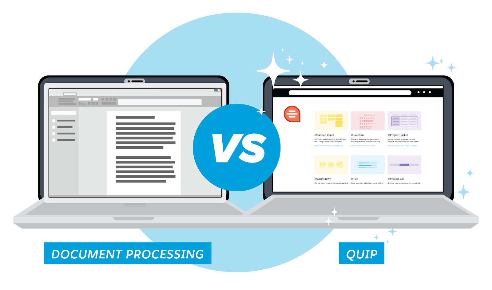 Two laptops, one with traditional document processing software and one with Quip, which is more colorful, modular, and user-friendly.