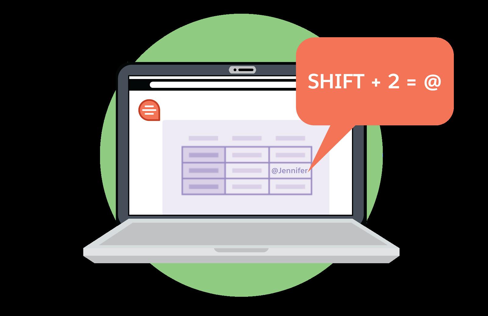 Laptop screen showing shift+2=@.