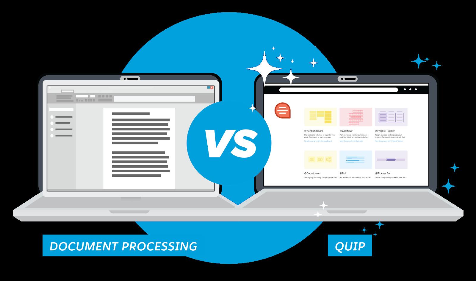 Dois laptops: um com software de processamento de documentos tradicional e outro com o Quip, que é mais vibrante, modular e fácil de usar.