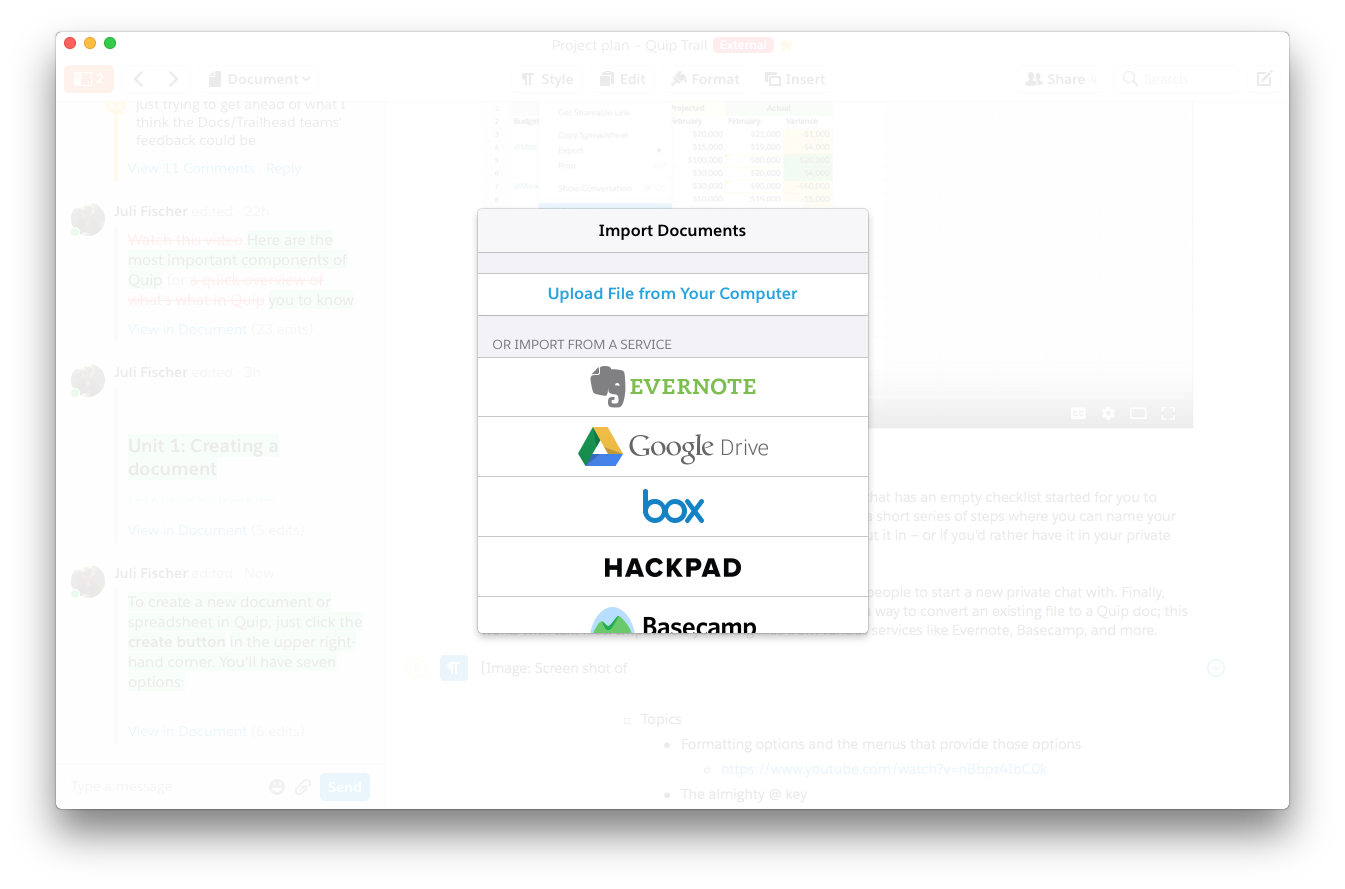 Image showing the different options Quip has to import external documents