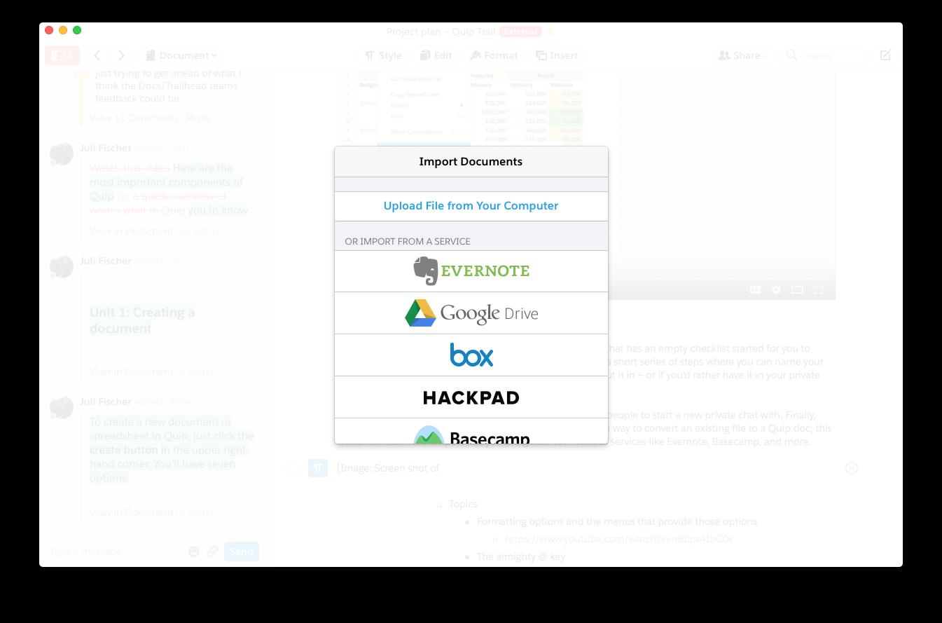 Image illustrant les différentes options disponibles dans Quip pour l'importation de documents externes