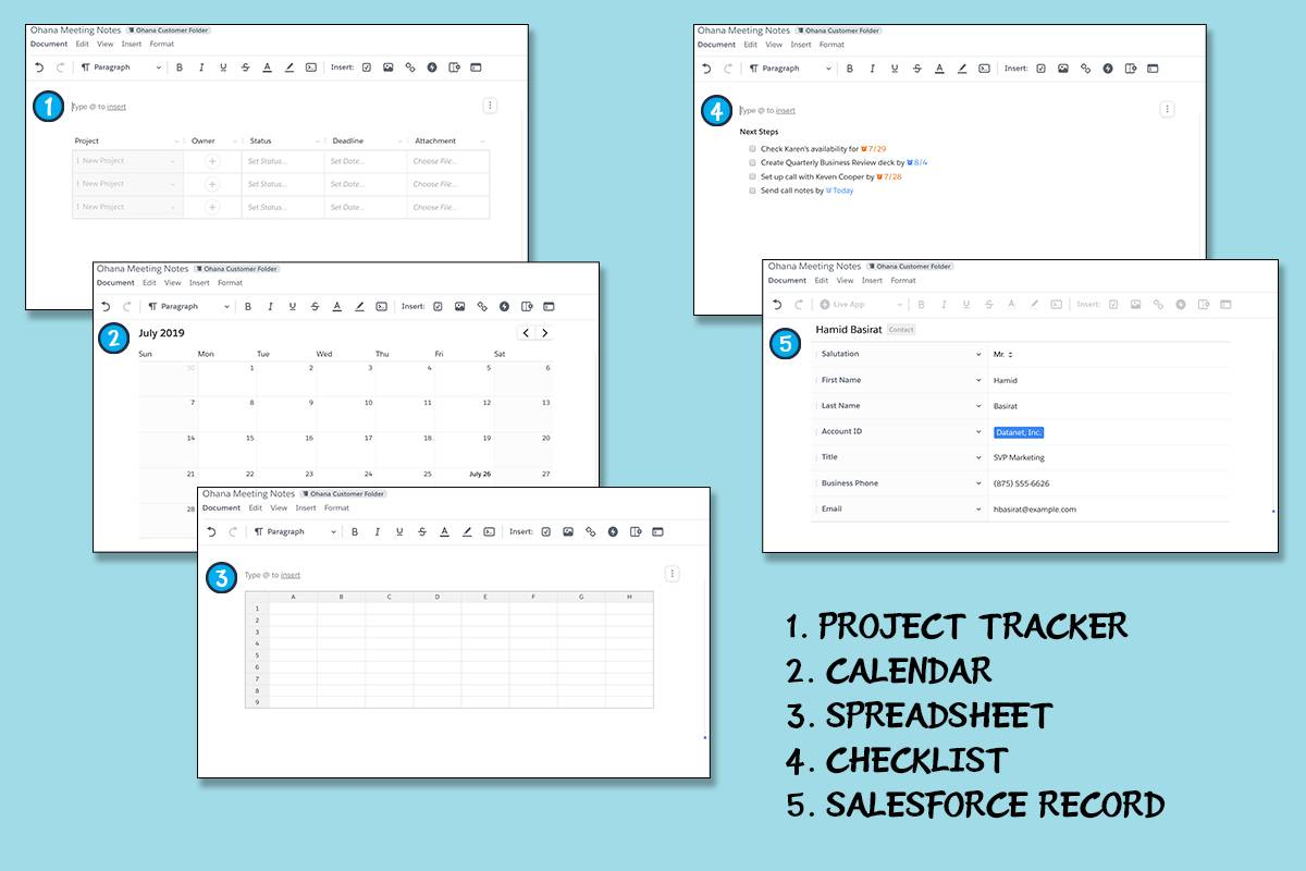 Screenshots of Quip documents with various LiveApps including Project Tracker, Calendar, Spreadsheet, Checklist and Salesforce Record.